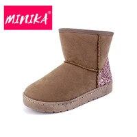 MINIKA Fashion Sequin Ankle Boots Women Slip On Durable Winter Shoes Women Warm Plush Snow Boots