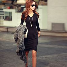 Chic Winter Office Lady Long Sleeve Casual V-Neck Sweater Knit Knee Length Dress sweater dress v neck bib zippered knit sweater