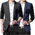 Chaqueta de los hombres traje Slim fit chaqueta fiesta de mens azul bloque de color negro blazers casual ceket corea moda jaqueta colegio masculino