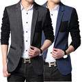 Men suit Jacket Slim fit party blazer mens blue black color block blazers casual ceket korean fashion jaqueta college masculine