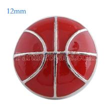 New red basketball metal 12mm small snap beads jewelry snaps fit bracelets necklace pendant snap jewelry KS6092-S(China)