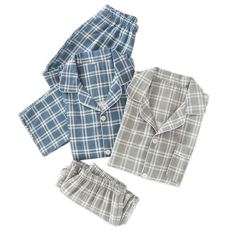 Korea Fashion Plaid Pajama Sets Men Pijama Hombre 100% Gauze Cotton Casual Male Long Sleeve Cozy Sexy Summer Pyjamas Men
