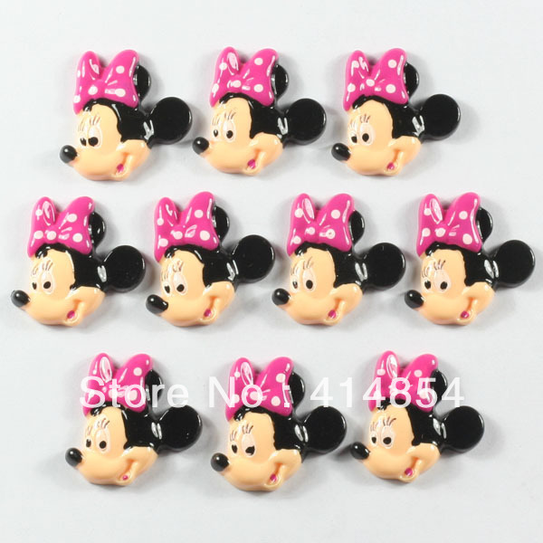 Wlesale 15pcs Cute Minnie Mouse Hot Pink Bow Resin Flatbacks ...