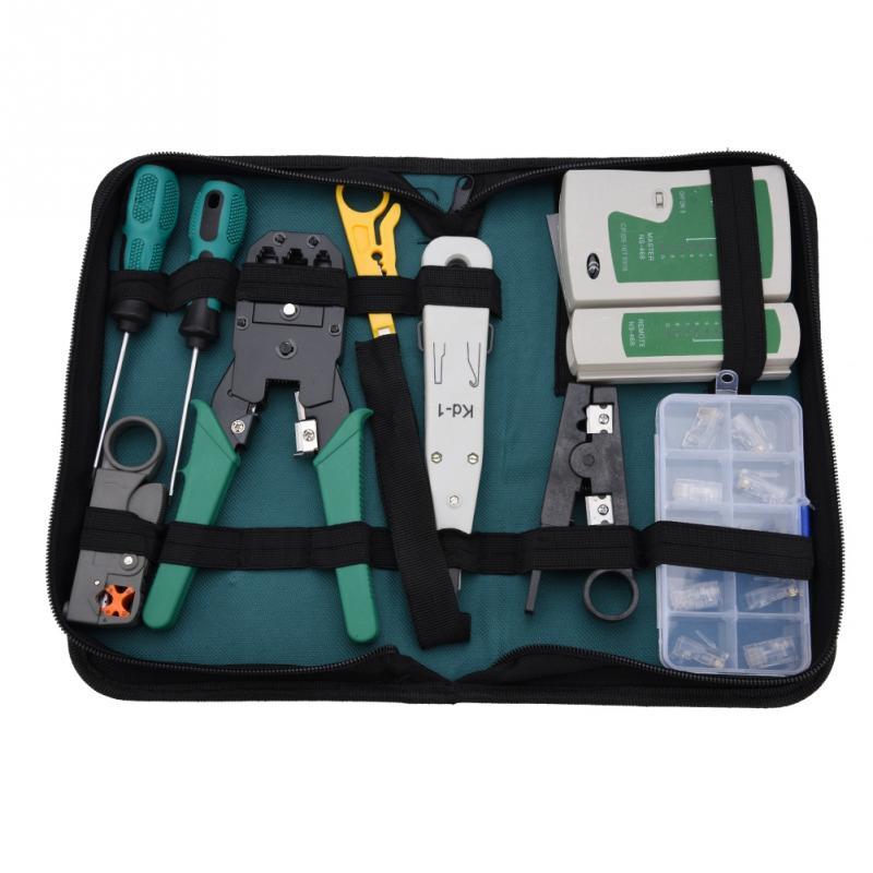 LAN Network Service Tool Kit Cable Tester Kit 11-piece Combination Kit for for RJ11 RJ45