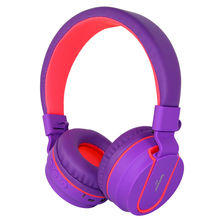 Rockpapa 952B Stereo Bluetooth Headphones Adjustable Foldable Music Wireless Headset with Mic 3.5mm Cable- Purple