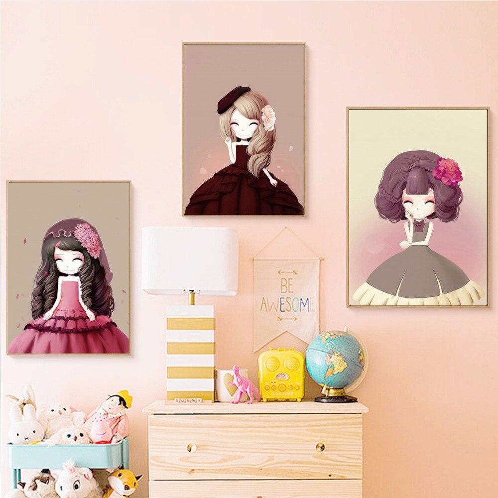 €1.73 37% de réduction|Princesse dessin animé toile peinture Kawaii fille  affiche photo pépinière enfants chambre décoration décor à la maison-in ...