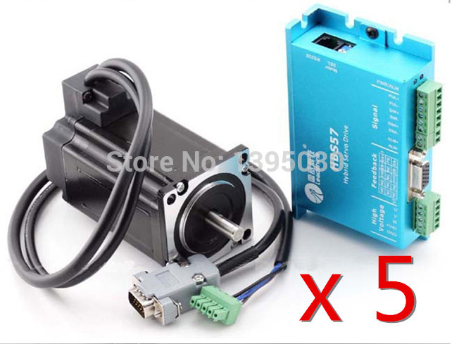 5Sets/Lot HBS57 Professional 300W Closed Loop 3-phase Hybrid Servo Drive Kit Drive + 573S20-EC-1000 Motor