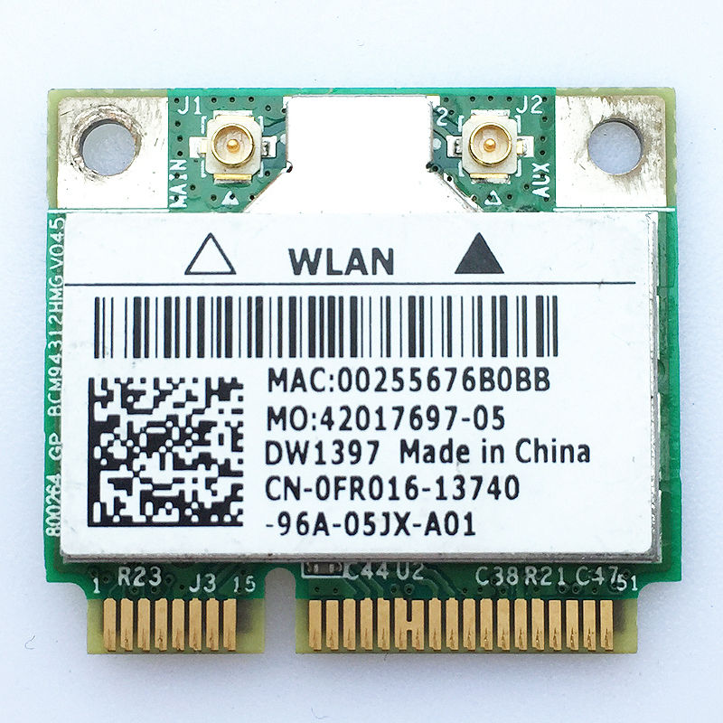 DW1397 BCM94312HMG WIFi Wireless WLAN Card For Dell FR016 KW770 BRCM1030 54 Mbps Half Mini PCI E Module Card For Dell 1440 1750