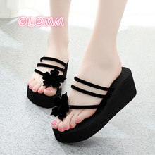 2019 new fashion outwear flip-flop women's high heel thick-bottomed Flower Clip toe lady's flip-flop босоножки flip flop