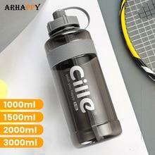 Brand 1000 ml 2000ml Sport Drinking Water Bottle with Straw