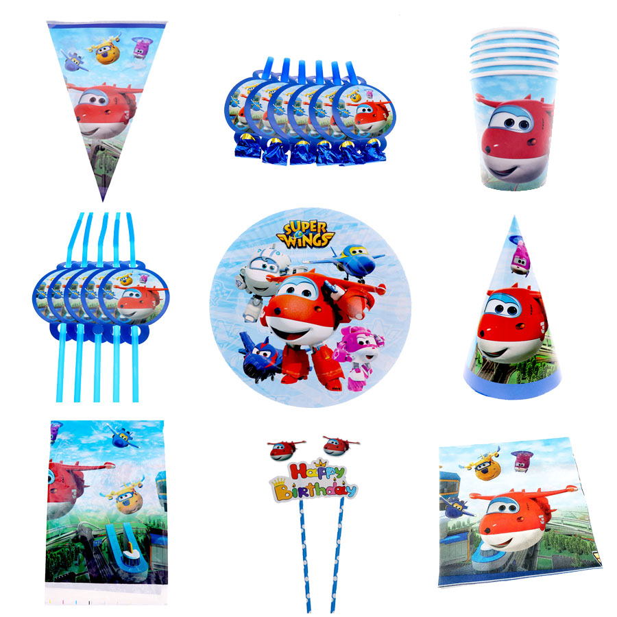 Super Wings Theme Children Birthday Party Cartoon Decorate Paper Plate Cup Paper Party Supplier Tools Set