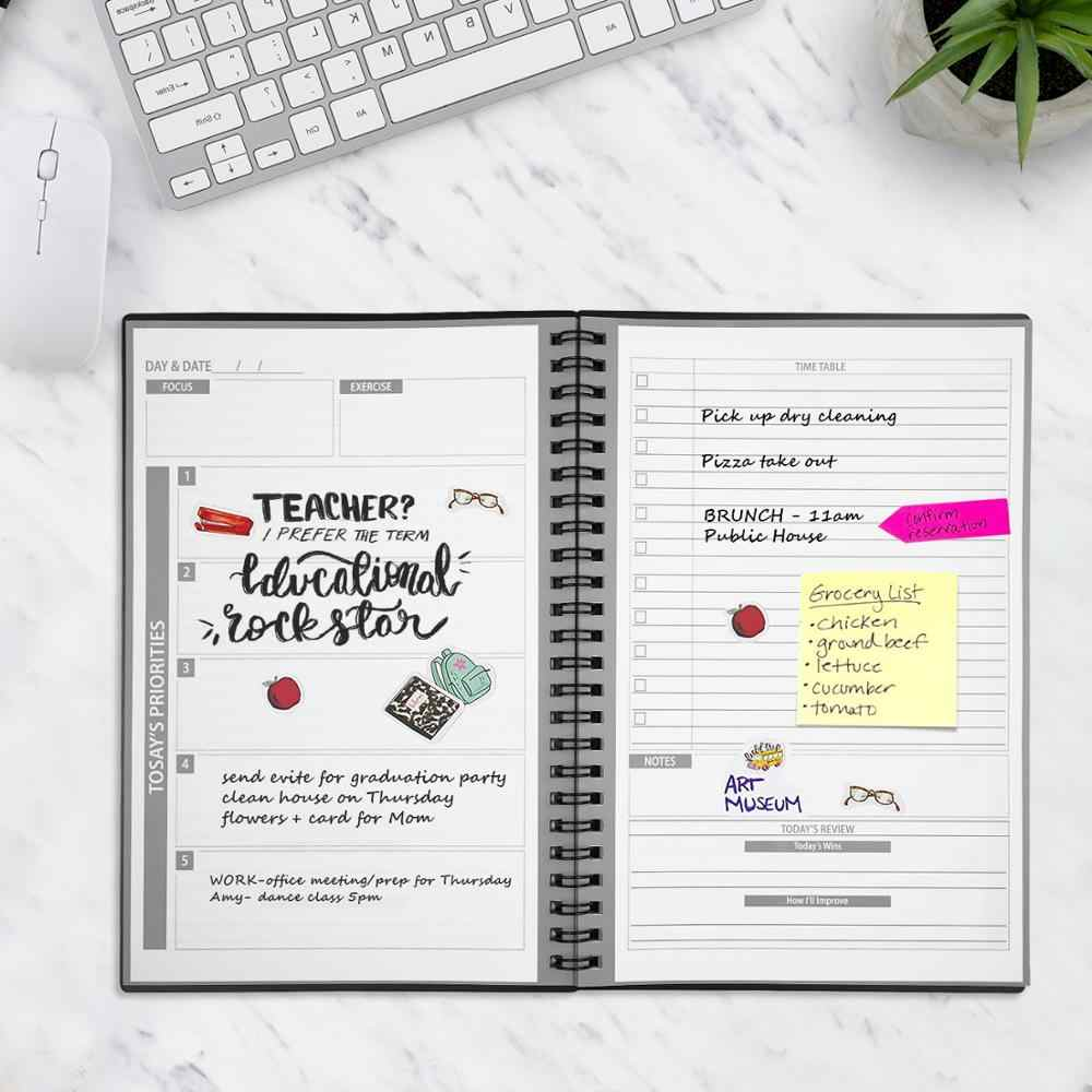 NEWYES 2.0 Smart Herbruikbare Uitwisbare A5 NoteBook Agenda Planner Wekelijkse Spiraal Maandelijkse Schema Boek Jaarlijks Kraftpapier Dagboek 2019