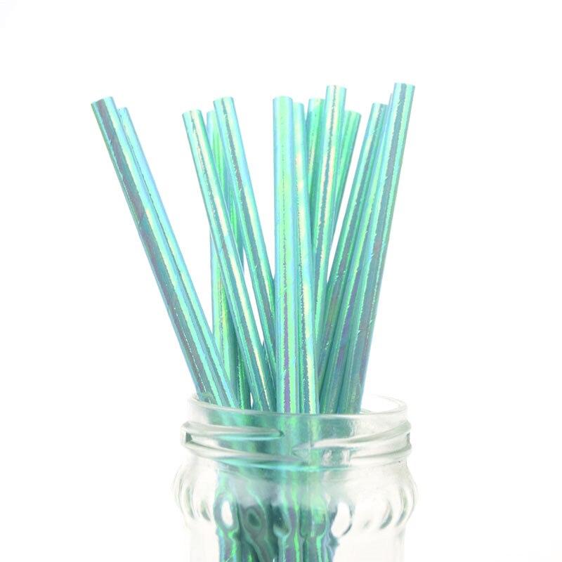 500pcs Lot Blue Pearl Rainbow Iridescent Paper Straws Kids