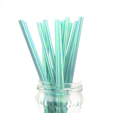 500pcs/lot Blue Pearl Rainbow Iridescent Paper Straws Kids Birthday Party Wedding Decor Bridal Shower Drinking DIY