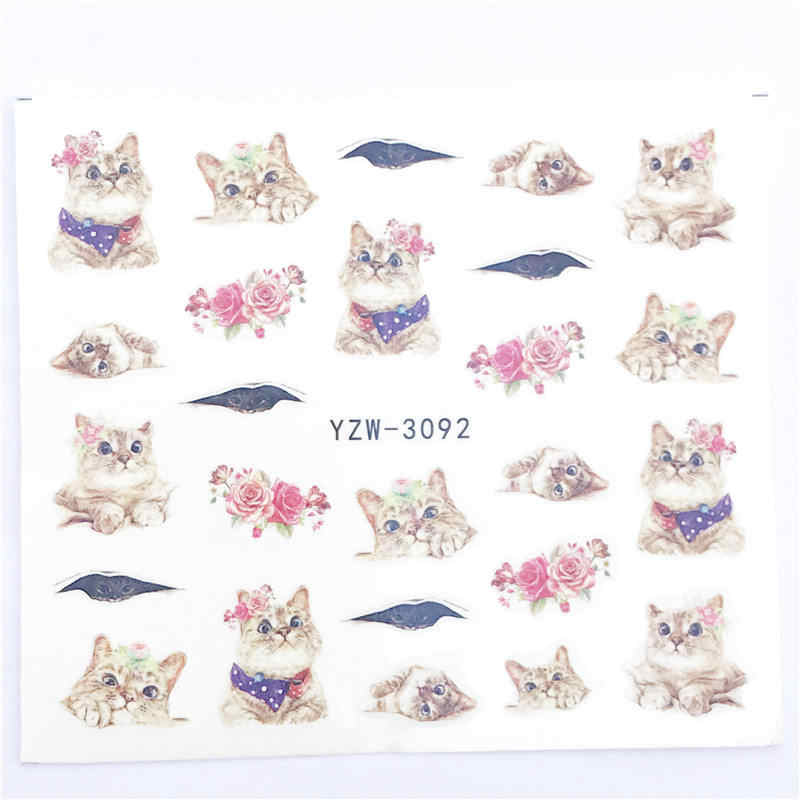 YZWLE 1 PC Hot Nail Sticker Black Butterfly Note Beauty Water Transfer Stamping Nail Art Tips Nail Decor Manicure Decal