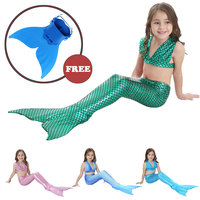 Fee Et Moi Girls Swimming Mermaid Tail Cosplay Little Girls Fancy Dress Swim Bikini Set
