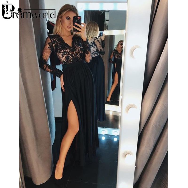Sexy Black Prom Dresses 2019 V-Neck Lace High Slit Chiffon A-Line Party Prom Gown Long Sleeve Evening Dresses Robe De Soiree