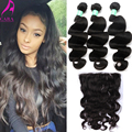 7A Peruvian Virgin Hair with Closure Body Wave 13x6 Ear To Ear Lace Frontal Closure With Bundles 4Pcs/Lot  Cara Hair products
