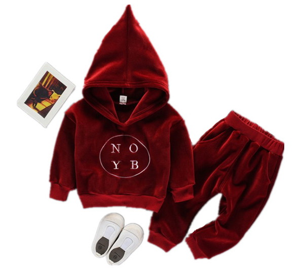 2017 Baby Kids Gold Velvet Clothing Set Long Sleeved Sweatshirt + Casual Pants,2pcs Fashion Casual Suits ,girls Boys Pant Suit  europe hot sale baby girls long sleeve velvet plaid top pant suit fashion childrens casual clothes princess clothing 16d1224
