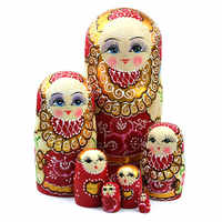 7pcs New Wooden Russian Nesting Dolls Braid Girl Toy Traditional Matryoshka Wishing Dolls for Birthday 88 FJ88