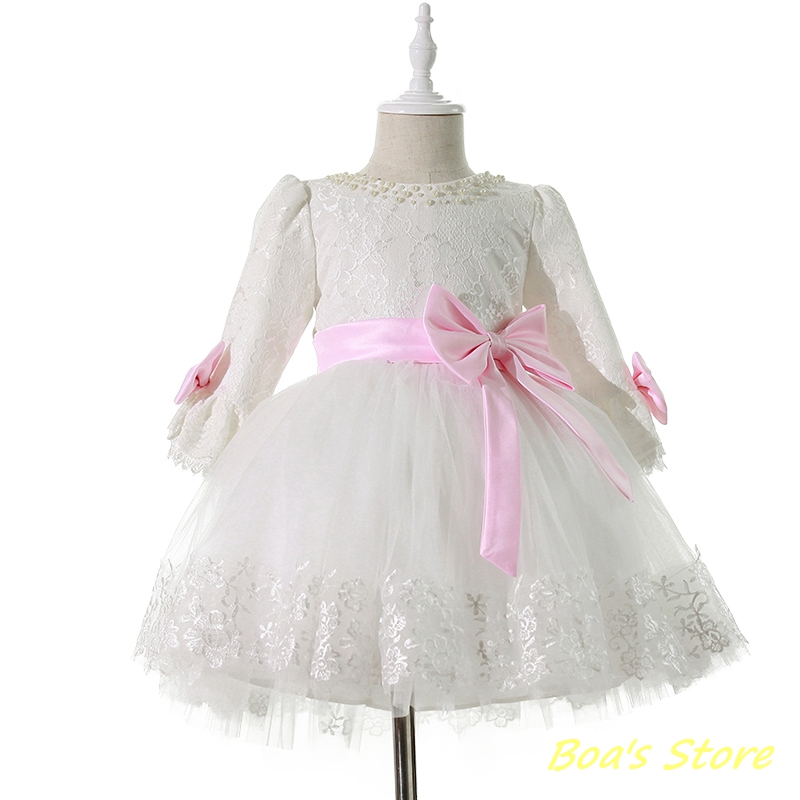 Baby Girls White Long Sleeve Full Dress Warm Ball Gown Flower Party Wedding Special Princess Kids Dresses For Girls Clothes baby girls red long sleeve full dress ball gown golden flower party wedding special princess kids dresses for girls clothes