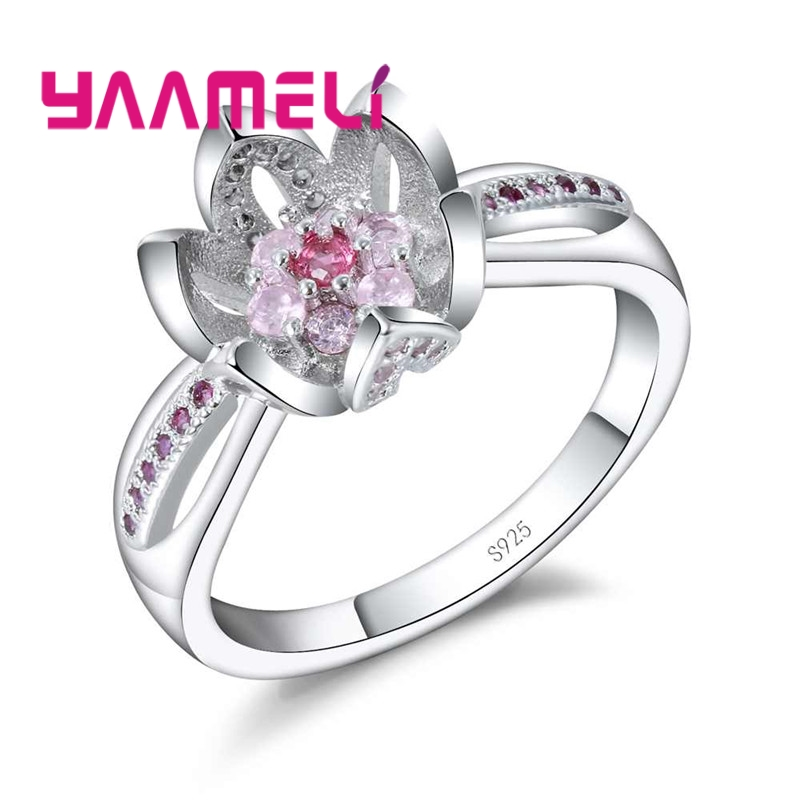 YAAMELI Sparkling Princess Wedding Rings Pure 925 Sterling Silver Zircon Lotus Flower De ...