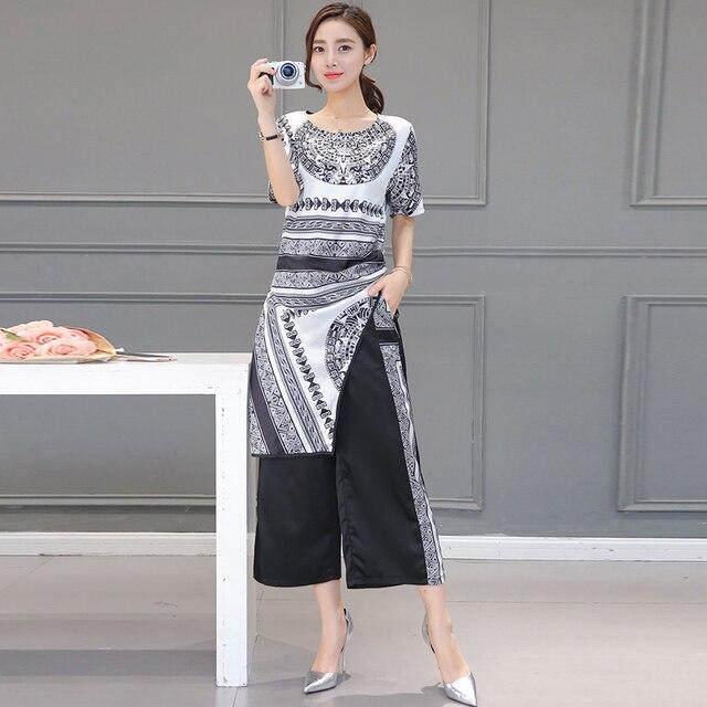 2016 летний новый досуг мода женской одежды с коротким рукавом круглым воротом над головой рубашки печати пят брюки костюм костюм