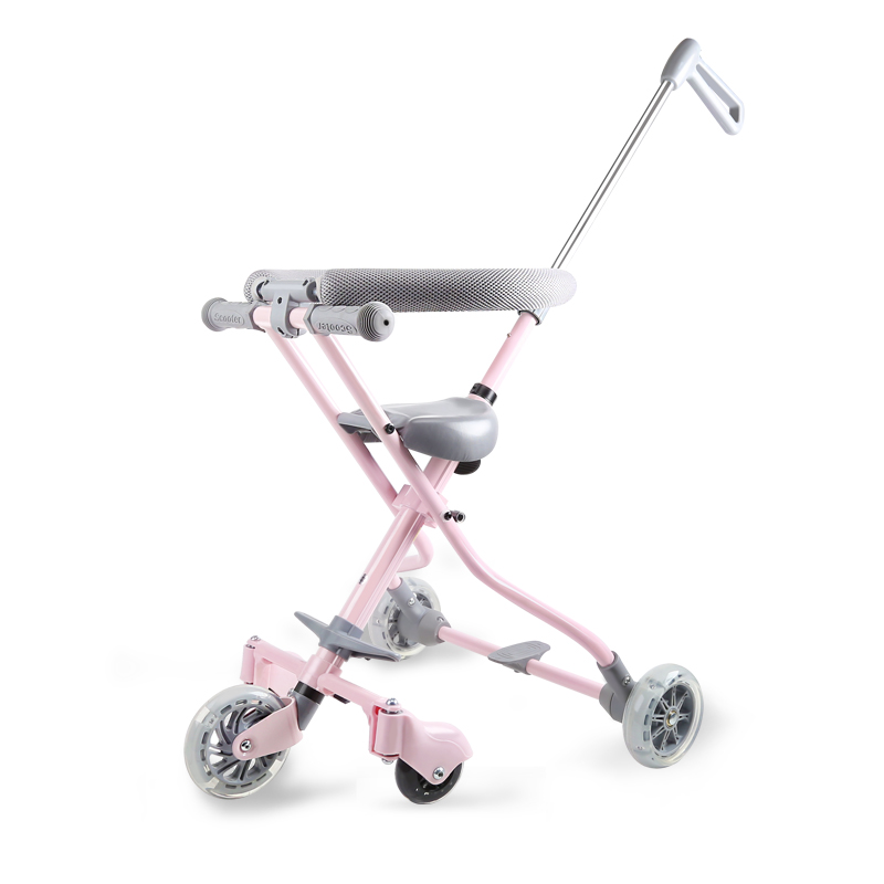Infant Shining Foldable Trolley For Children With Fence Tricycle Five Wheels Baby Trolley Light Folding Baby