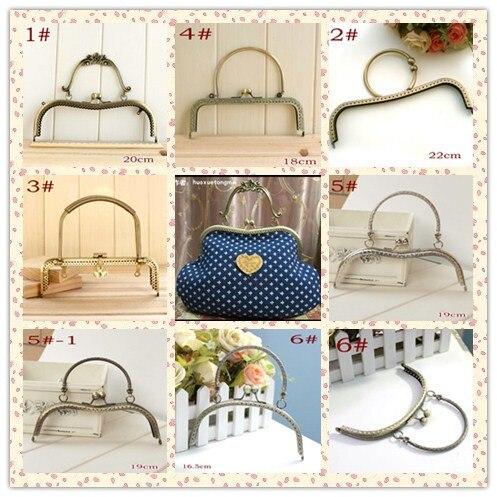 9 Design Coin Purse Frames bronze Silver Purse Metal Frame Kiss Clasp DIY Sew  Bags Clutch Accessories Sewing Handbag Handle 2pcs a2bd5d3ac1196
