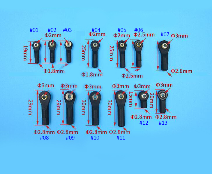 20Pcs M2/M2.5/M3 Plastic Ball Joint 2/3mm Tie Link Rod End Holder Wear Resisting Connector For Rc Boat Car Airplane Trucks Buggy 20pcs aluminum m3 link rod end ball joint cw ccw for 1 10 rc car crawler buggy