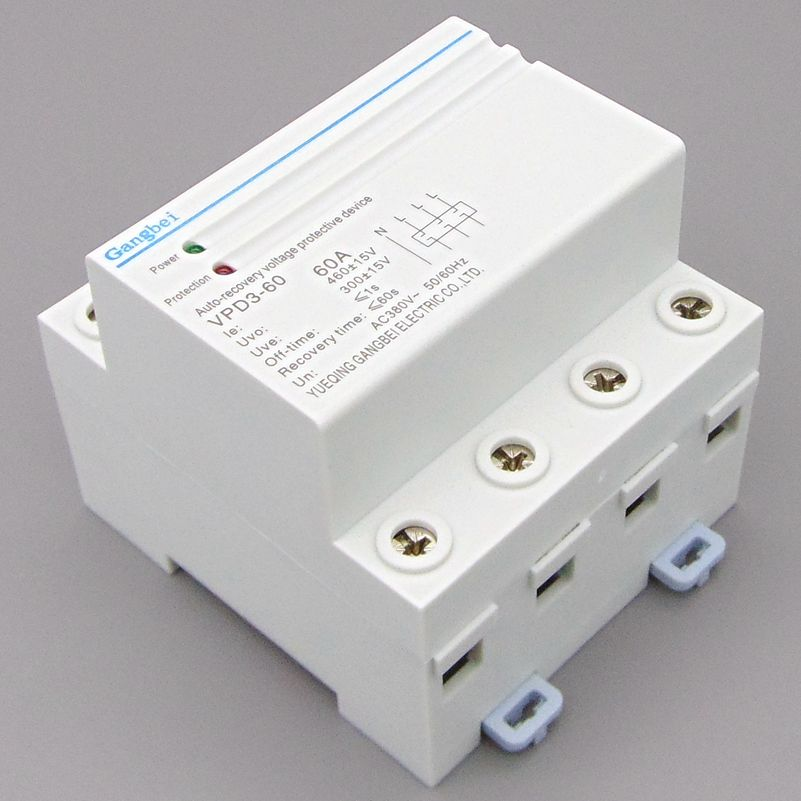 VPD3-60 Three Phase four wire Din rail automatic recovery reconnect over voltage and under voltage protective protection relay