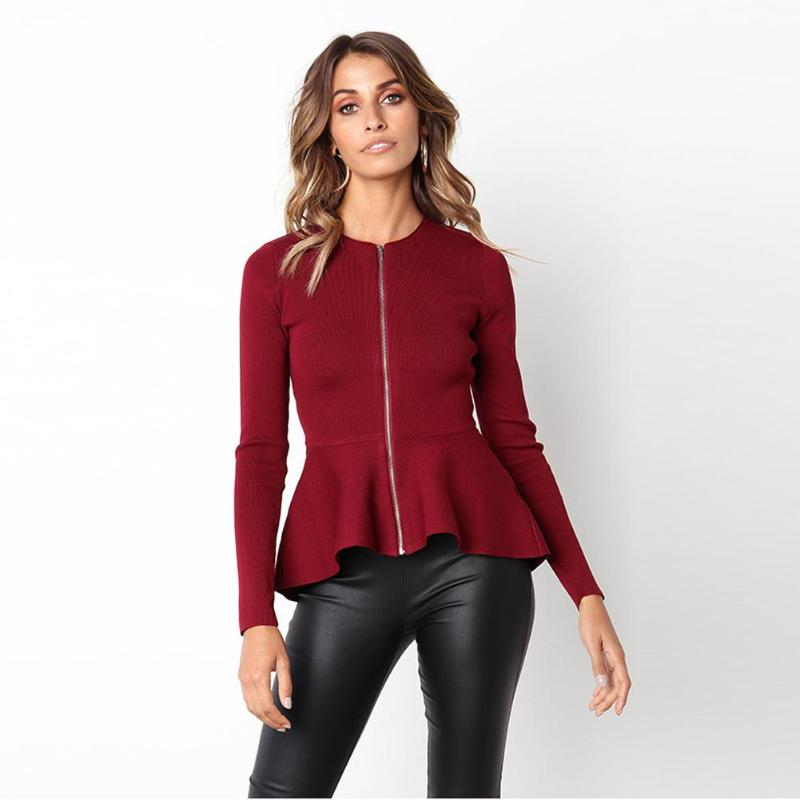 Autumn Round Neck Slim Jacket Women Fashion Ruffled Long Sleeve Casual Coat Solid Color Zipper Tops