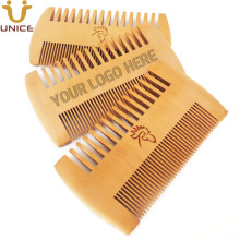 50pcs/lot Amazon Ebay Hot Sale Fine & Coarse Teeth Double Sides Wood Combs Custom LOGO Wooden Hair Comb Dual Sided Beard