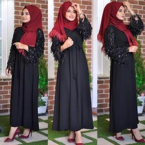 Image 4 - Vestido largo de lentejuelas con borlas para mujer, caftán Abaya de Dubái, ropa árabe islámica, vestido Hijab de banda