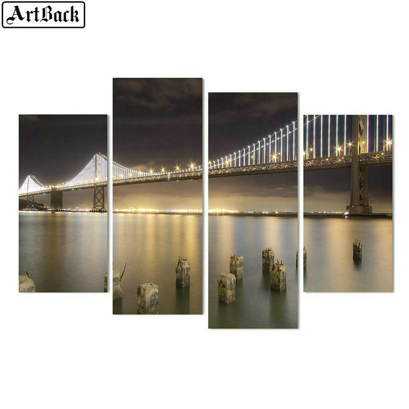 5d diamond painting bridge night view full square round 3d diamond embroidery mosaic artwork living room