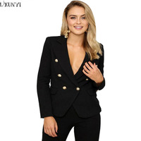 LXUNYI Autumn Suit Jacket Lady Europe And America Long Sleeve Slim Office Blazers For Women Double