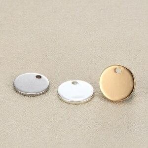 Image 2 - فارغة 12 مللي متر بطاقة تعريف/ ملصق دائري الشكل دلايات من الفولاذ المقاوم للصدأ مخصص شعار محفور مع كمية صغيرة