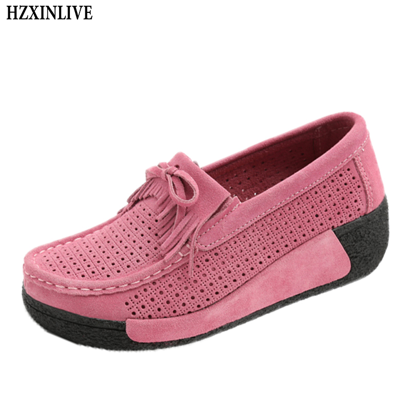 HZXINLIVE 2018 Women Flats Shoes Platform Sneakers Breathable Leather Suede Casual Shoes Slip-on Loafers Flats Fringe Moccasins hzxinlive 2018 flat shoes women breathable flats shoes for women ladies casual platform female fashion summer sneakers footwear