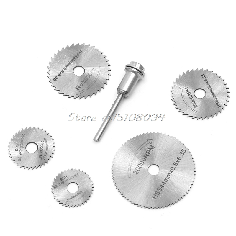 New 5Pcs Cut off Saw Blades HSS Cutting Discs + 1 Mandrel For Rotary Blade Tool -S018 High Quality 6cm x 0 05cm x 1 6cm 72 teeth hss slitting saw blade cutting tool