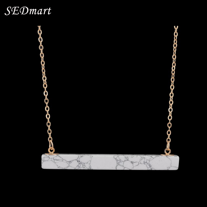 SEDmart Sederhana Putih Hitam Marmer Howlite Bar Pendant Kalung Warna Emas Putih Batu Alam Berlapis Kalung Wanita