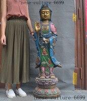 wedding decoration Chinese bronze Painted Gilt Buddhism Kwan Yin Guanyin Bodhisattva Buddha statue