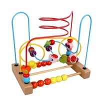 Hot Sale Counting Fruit Bead Wire Maze Roller Coaster Wooden Early Educational Toy For Baby Kids