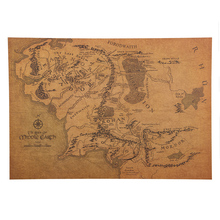 TIE LER Vintage Middle Earth Map The Lord of The Rings Poster Decor Wall Sticker