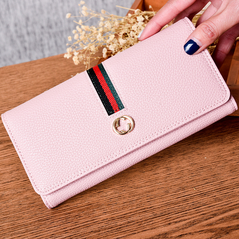 wallet female PU leather large design clutch women cowhide wallet stitching buckle fashion mobile phone bag