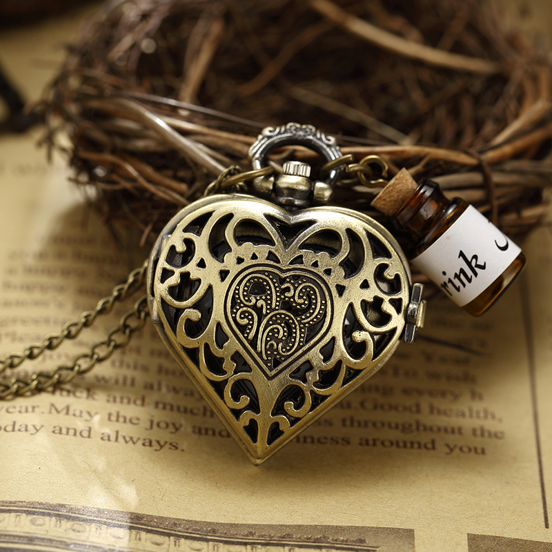 Parfüm Şişesi Cep Saati Hollow Kalp Çiçek Kabartmalı Bronz - Cep Saatleri - Fotoğraf 1