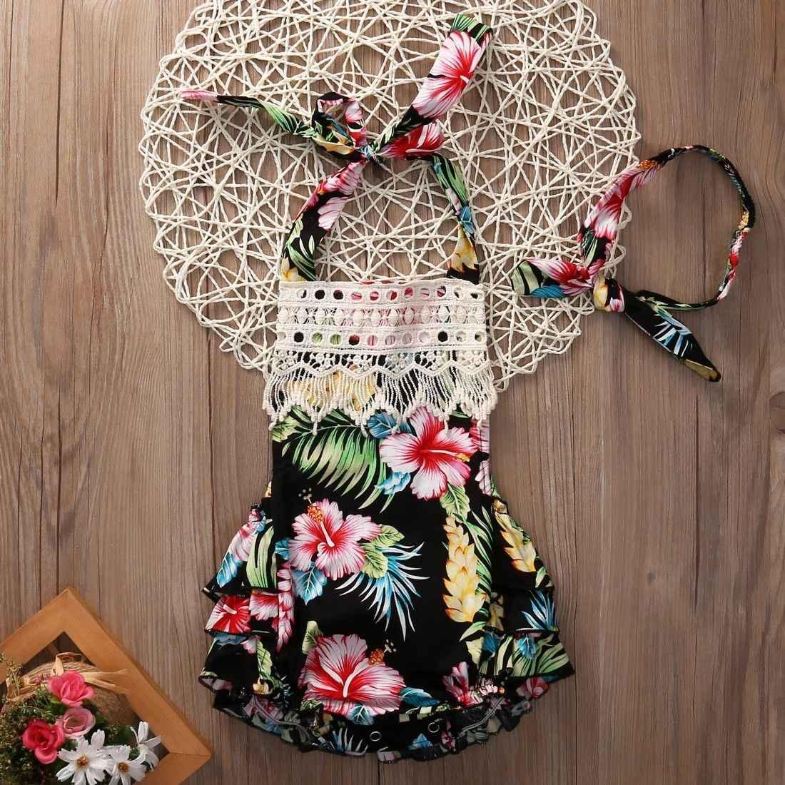 f16ab4fedba7c 2017 Floral Baby Girl Clothes Summer Sleeveless Flower Romper Bodysuit  Ruffles Halter Jumpsuit +Headband 2PCS Outfits Sunsuit