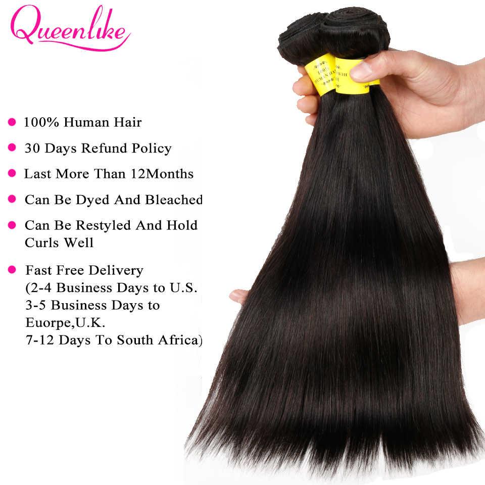 Kraliçe 100% insan saçı örgüsü Demetleri Ile Kapatma Olmayan Remy Saç Atkı 3 4 Demetleri Brezilyalı Düz Saç Demetleri Ile Kapatma