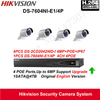 Hikvision Security Camera System 4MP Mini Bullet IP Camera 4pcs DS 2CD2042WD I POE IP67 With