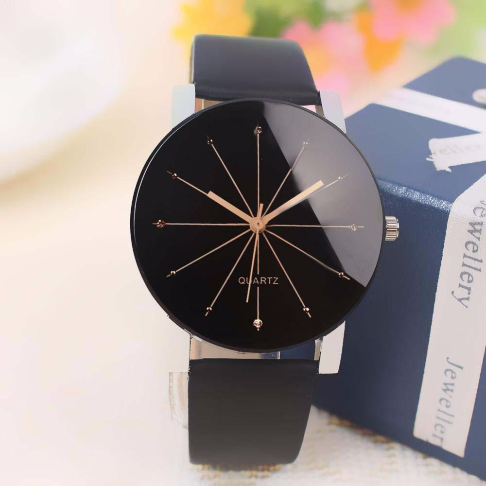 Hot Sale Fashion Casual Men Women Leather Band High Quality Quartz Analog Wrist Watches For Lover