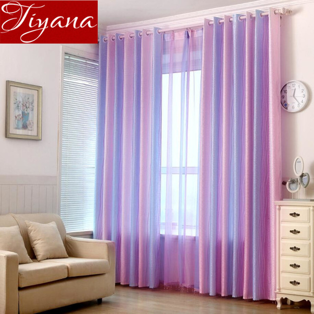 Colored Striped Curtains Kids Room Modern Simple Living Window Screen Yarn Jacquard Voile Curtain Cloth